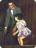 Here is a photo of Karen at her first dance recital, age three-and-one-half, with the famous Al Gilbert who used dance as therapy.