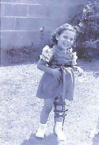 Karen at age 4 wearing her leg brace